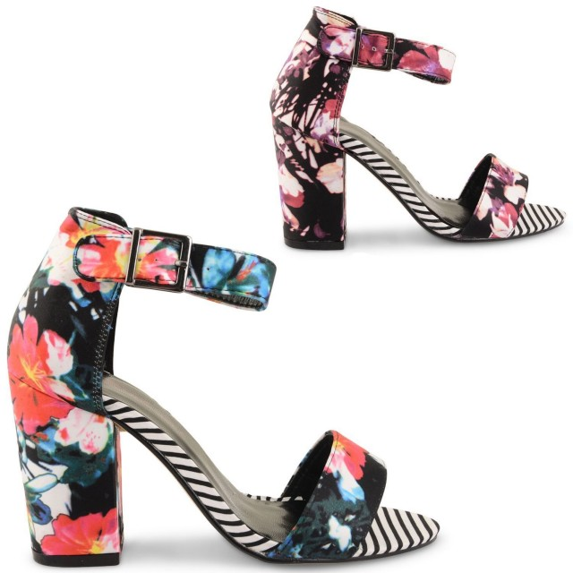 WOMENS DOLCIS PURPLE & PINK FLORAL STRAPPY LADIES BLOCK HIGH HEEL SUMMER PEEP TOE SANDALS SHOES SIZES UK 3-8
