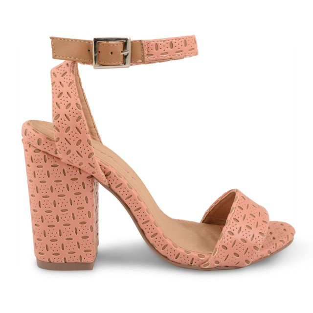 WHITE & SALMON PINK WOMENS DOLCIS STRAPPY BLOCK HEEL SANDALS SIZES UK 3-8